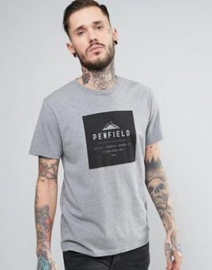 Penfield Серая меланжевая свободная футболка с логотипом Kemp. Цвет: серый