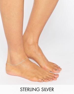 Kingsley Ryan Тонкий серебряный браслет на ногу. Цвет: серебряный