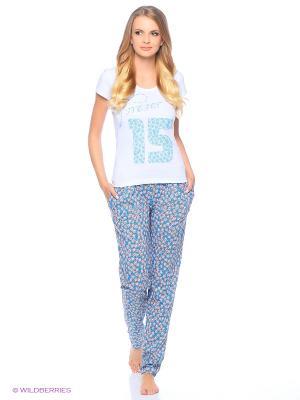 Пижама MARSOFINA. Цвет: белый, голубой