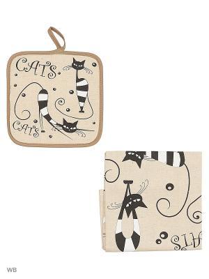 Полотенце льняное Коты Полосатые GrandStyle. Цвет: серый, черный