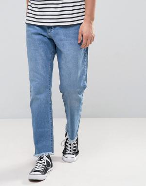 Zeffer Выбеленные расклешенные джинсы цвета индиго с развернутым краем 5883290