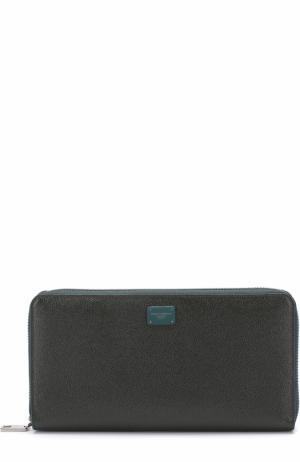 Кожаный бумажник на молнии с отделениями для кредитных карт и монет Dolce & Gabbana. Цвет: темно-зеленый