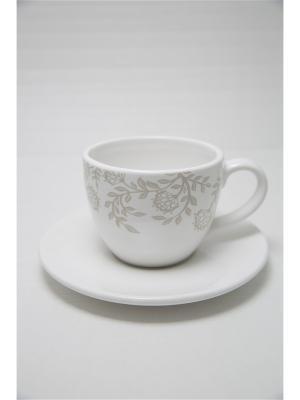 Чашка с блюдцем лиана Mitya Veselkov. Цвет: белый