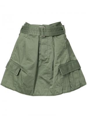 Юбка в стиле милитари Marc Jacobs. Цвет: зелёный