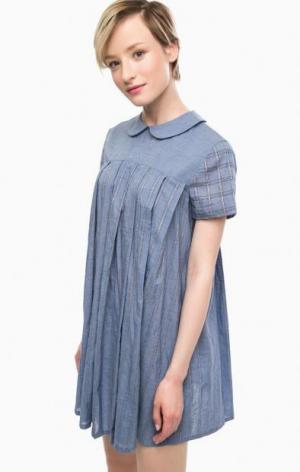 Короткое платье расклешенного силуэта THINK CHIC. Цвет: синий