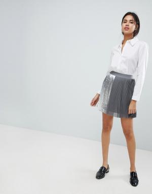 Sisley Плиссированная мини-юбка. Цвет: серый