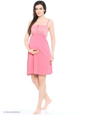 Ночная сорочка для беременных и кормящих с кружевом FEST. Цвет: коралловый