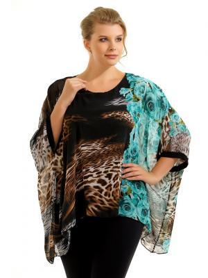 Блузка Pretty Woman. Цвет: черный, бирюзовый, светло-коричневый