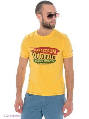 Футболка Dolomite. Цвет: желтый, зеленый, красный