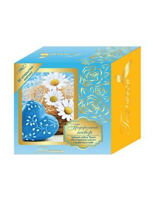 Чайный набор Синий: 3D открытка-магнит, салфетка и чай Tipson Ceylon №1 OPA. Цвет: синий