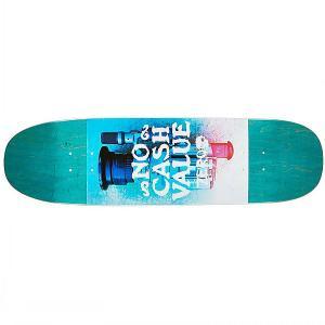 Дека для скейтборда лонгборда  No Cash Value Cruiser Teal 8.75 x 32.1 (81.5 см) Zero. Цвет: синий,мультиколор