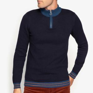 Пуловер из плотного трикотажа с воротником-стойкой La Redoute Collections. Цвет: синий морской
