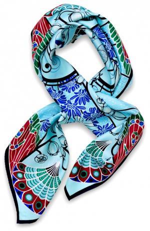 Шелковый платок Precious Garden Lalique. Цвет: бирюзовый