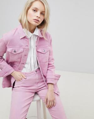 Only Джинсовая оversize-куртка. Цвет: розовый