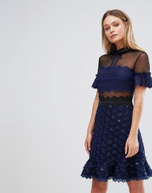 Three Floor Короткое приталенное платье с воротником. Цвет: темно-синий
