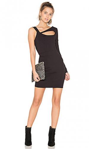 Платье на одно плечо с вырезом twenty. Цвет: черный