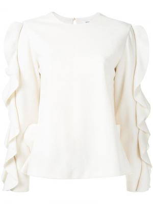 Блузка с рюшами на рукавах Goen.J. Цвет: белый