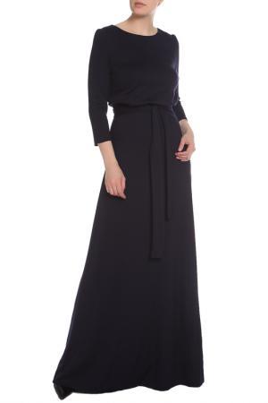 Полуприлегающее платье с поясом La Reine Blanche. Цвет: тёмно-синий