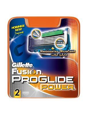 Сменные кассеты для бритья FUSION PROGLIDE Power, 2 шт GILLETTE. Цвет: серый, синий