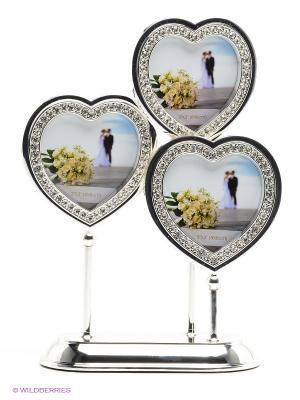 Фоторамка Сердца, металлическая со стразами на 3 фото формата 8х8см PLATINUM quality. Цвет: серебристый