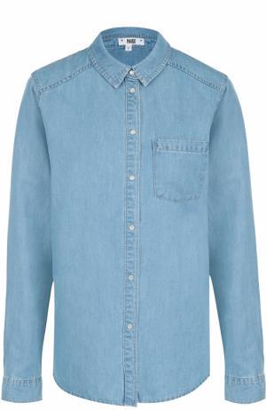 Джинсовая блуза прямого кроя с накладными карманами Paige. Цвет: голубой