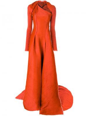 Асимметричное приталенное платье Maticevski. Цвет: жёлтый и оранжевый
