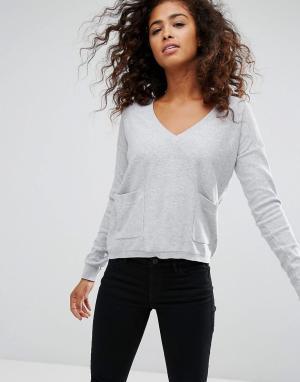 Esprit Джемпер с карманами Espirit. Цвет: серый