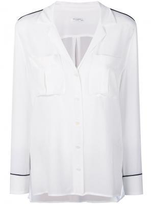 Рубашка в пижамном стиле с кантом Equipment. Цвет: белый