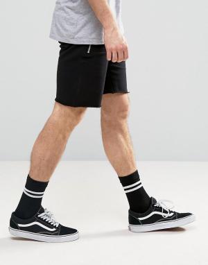 ASOS Черные трикотажные шорты с молниями. Цвет: черный