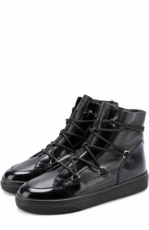 Высокие кожаные кеды на шнуровке Hogan. Цвет: черный