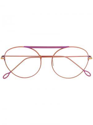 Очки с оправой авиатор Delirious. Цвет: розовый и фиолетовый