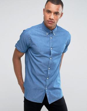Jack & Jones Узкая джинсовая рубашка-премиум. Цвет: темно-синий