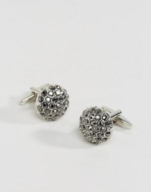 DesignB London Серебристые запонки с камнями эксклюзивно для ASOS. Цвет: серебряный