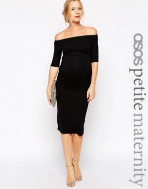 ASOS Maternity Платье для беременных с укороченными рукавами PETITE. Цвет: черный