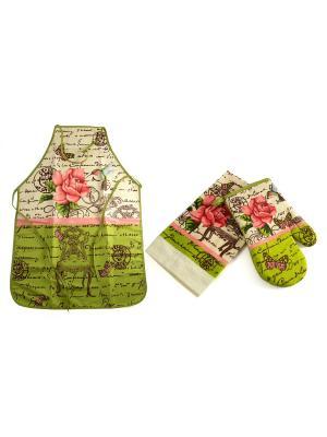 Набор кухонного текстиля: фартук, полотенце, варежка Русские подарки. Цвет: светло-зеленый, кремовый, розовый