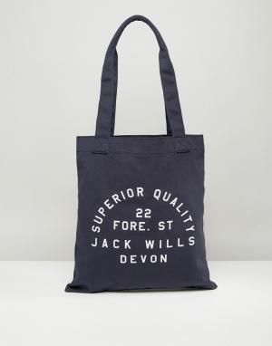 Jack Wills Темно-синяя сумка-тоут. Цвет: темно-синий