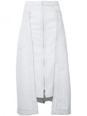 Брезентовая юбка Eckhaus Latta. Цвет: серый