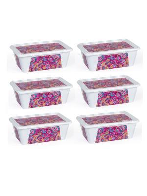 Комплект контейнеров из 6 шт. ПЕЙСЛИ прямоугольный с декором 0,4 л. Полимербыт. Цвет: фиолетовый