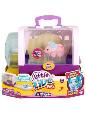 Интерактивная мышка Little Live Pets в домике, розовая Moose. Цвет: розовый