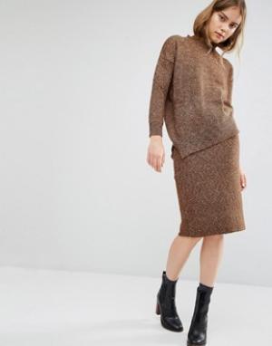 Paisie Меланжевая юбка-карандаш. Цвет: коричневый
