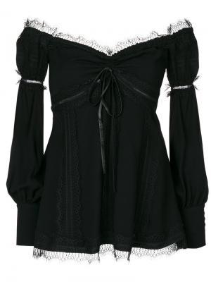 Блузка с кружевной отделкой Wandering. Цвет: чёрный