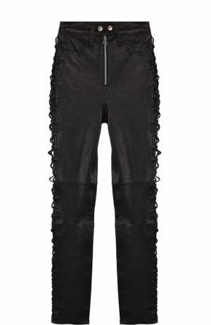 Укороченные кожаные брюки-скинни со шнуровкой Rag&Bone. Цвет: черный