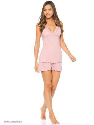 Пижама (шорты пижамные, майка) ASOLINDA. Цвет: розовый