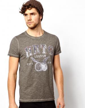 Меланжевая футболка Pepe Heritage. Цвет: серый