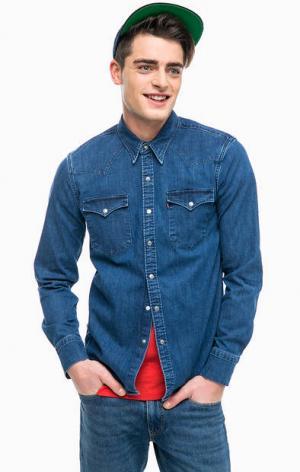 Джинсовая рубашка на кнопках Levi's®. Цвет: синий