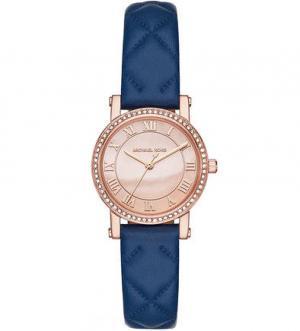 Часы с синим кожаным браслетом Michael Kors