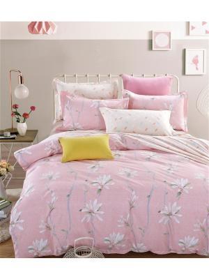Постельное белье, евро 1st Home. Цвет: светло-бежевый, белый, бледно-розовый