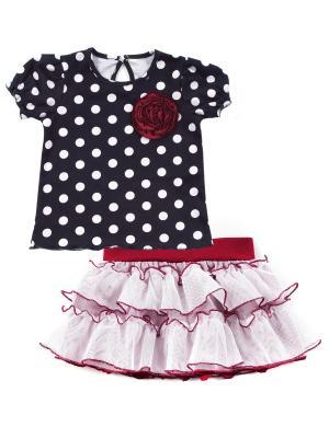 Кофточка, юбка Апрель. Цвет: белый, темно-синий, красный