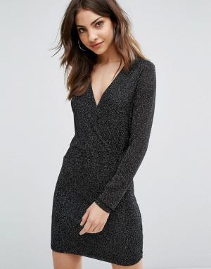 Wal G Облегающее платье с длинными рукавами. Цвет: черный