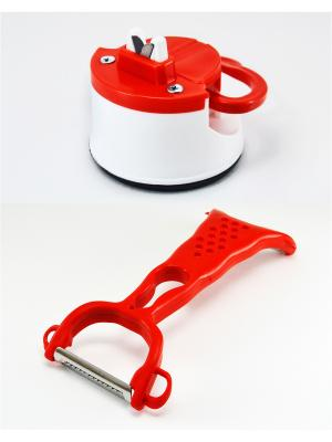 Точилка для ножей на присоске + нож чистки овощей с 2-мя ножами Радужки. Цвет: красный